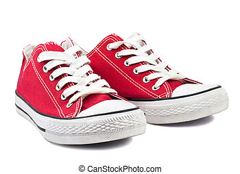 vintage red shoes on white background