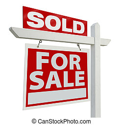 Sold Real Estate Sign - Sold Home For Sale Real Estate Sign...