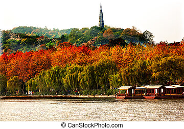 Ancient Baochu Pagoda Boats West Lake Hangzhou Zhejiang...