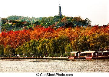 Ancient Baochu Pagoda Boats West Lake Hangzhou Zhejiang China
