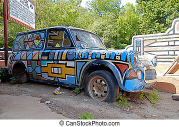 Old broken retro car with painting(South Africa) - Old...