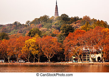 Ancient Baochu Pagoda West Lake Hangzhou Zhejiang China ....