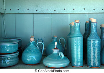 turquoise glazed ceramic pitchers, Crete , Greece -...