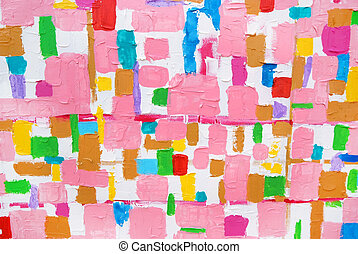 Colorful acrylic color brush strokes on white texture, on...