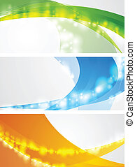 Colourful wavy banners - Abstract shiny waves banners. Eps...