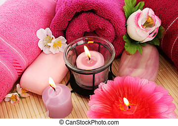 Towels, soaps, flowers, candles - Towels, soaps, flowers and...