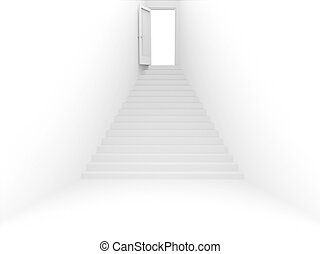 3d room with door and ladder of white color - Abstract 3d...
