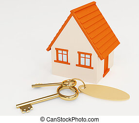 Mortgage - Two gold keys laying near to model at home
