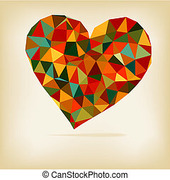 Retro heart made from color triangles + EPS8 vector file