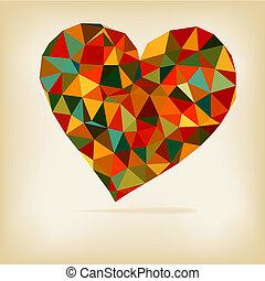 retro, Coração, feito, cor, triângulos,...