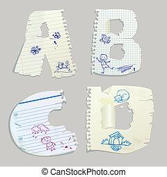 English alphabet - letters A,B,C,D