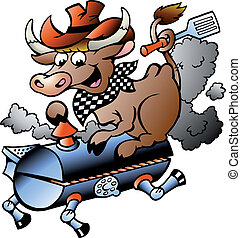 Cow riding a BBQ barrel - Hand-drawn Vector illustration of...