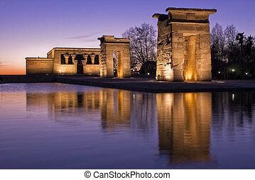 Temple of Debod - Egiptian Debods temple reflection on water...
