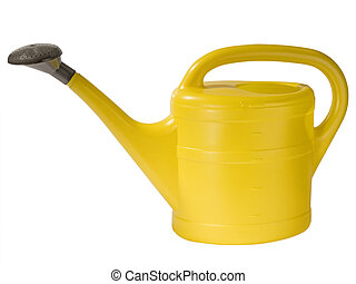 Watering can - Yellow watering can ioslated on whtie...