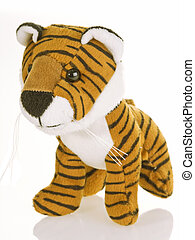 With stripes - Cute stuffed animal on white background