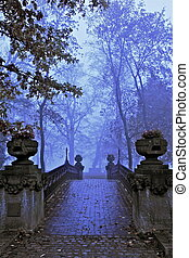 bridge - a landscape on a foggy october day