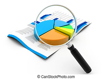 Financial pie chart and magnifying