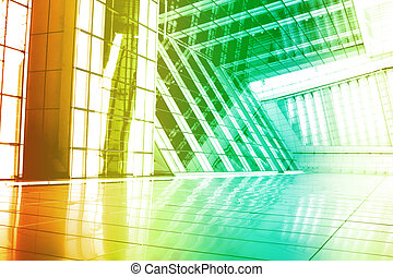 Green Orange Modern Building Abstract With Perspective and...