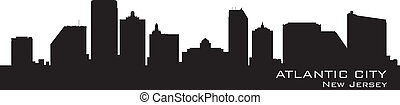 Atlantic City, New Jersey skyline Detailed silhouette Vector...
