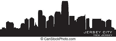 Jersey City, New Jersey skyline. Detailed silhouette. Vector...