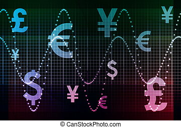 Blue Purple Financial Sector Global Currencies