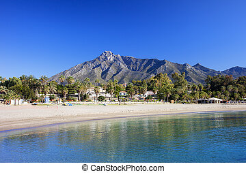 Marbella Beach on Costa del Sol - Marbella sandy beach,...