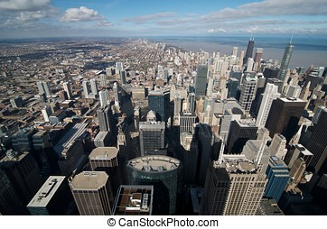 Chicago from Sears Tower - Overview of Chicago downtown from...