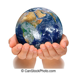 Hands of woman holding globe, Africa and Near East. Isolated...