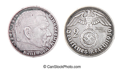 german reichs coin - isolated two sides of silver german...