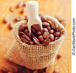 aroma, café, saco, de madera, tabla
