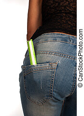 Tampon in pocket - Tampon sticking out of a female jeans...