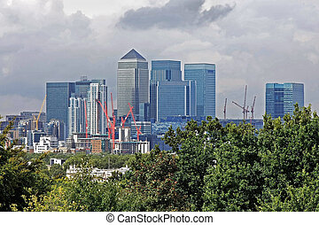 Canary Wharf - Skyline view of financial London district...