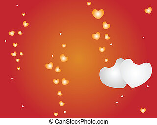 Vector of Hearts on Red Background