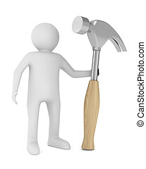 Man and hammer on white background. Isolated 3D image