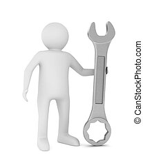 Man and spanner on white background. Isolated 3D image