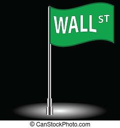 Wall street flag on a black background
