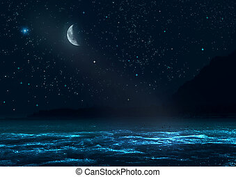 night landscape - mountains shined with a moonlight