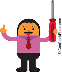 fix the problem - illustration of businessman fix the...