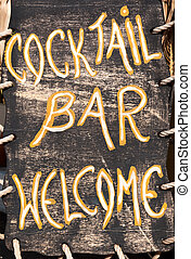Cocktail bar welcome - Wooden billboard at entrance to bar