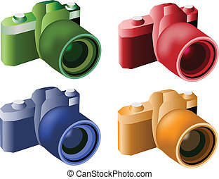 Vector Digital Cameras - Green, Blue, Orange and Red Color...