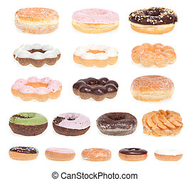 Donut Menu - Eighteen different donuts isolated on a white...