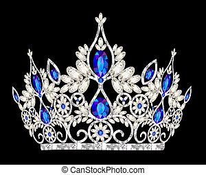 tiara crown womens wedding with a blue stone - illustration...