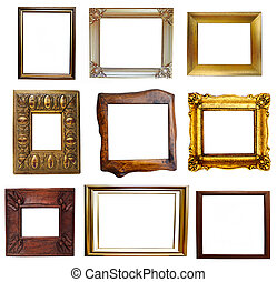 Collage of antique and wooden frames