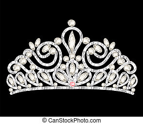 tiara crown womens wedding with white stones - illustration...