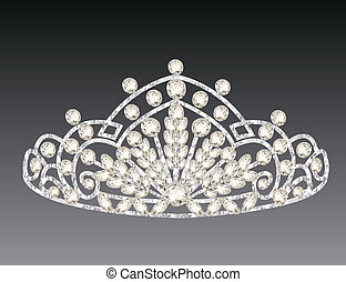 tiara crown womens wedding on a grey background -...