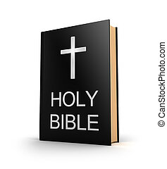Holy bible Book with cross isolated on white