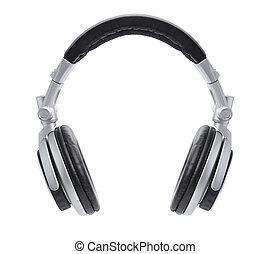 elegante, plata, dj, auriculares