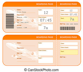 Boarding pass ticket concept Both sides Isolated