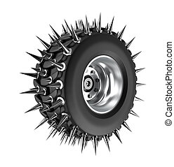 Spiked tire 3D concept Isolated on white