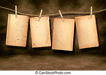 Distressed Worn Book Pages Hanging - Distressed Stained Old...